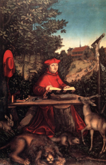 Lucas Cranach the Elder. Portrait of Cardinal Albrecht of Brandenburg as Saint Jerome. Oil on Panel.</p> <p> 1519.