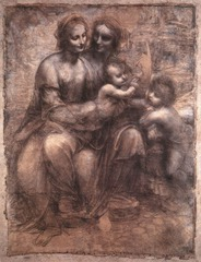 Madonna and Child with St. Anne and St. John, da Vinci 1505-1507 - figures resemble ancient greek sculpture - coalesce to form a single being in composition - Leonardo's color scheme