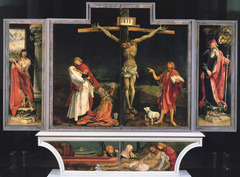 Matthias Grunewald. Isenehim Altarpiece. Closed. Oil on panel.</p> <p> Antonite Monastery, Iseneheim. 1515.