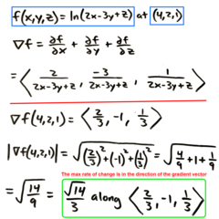 Quiz5: Q6 Find the maximum rate of change of the function at the given point and determine which direction it occurs in