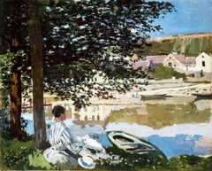 Seine at Bennecourt Artist: Monet Themes: -Leisure -landscape: is subject -optically engagement with outdoors: looking away from viewer; unusual -water=reflective surface; transforms image to reflect in different way