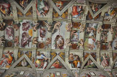 Sistine Chapel Ceiling, Michelangelo 1508-12 - ignudi are various nude youths strewn around the scene, become more agitated the closer they are to God - prophets and sibyls are seated on thrones around the chapel ceiling - Virgin Mary and Christ child behind God @ creation of Man scene - drunkenness of noah resembles normal, conservative painting