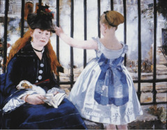 The Railway Artist: Manet Themes: -transportation: railroad is subject -more people from outside coming into paris -innocent young girl separated from new world
