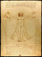 Vitruvian Man, da Vinci 1485-1490 - attempted to relate the human body to perfect forms like square and circle