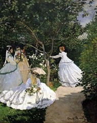 Women in the Garden Artist: Monet Themes: -modern life: leisure activity -clothing: allows blending of classes w/ rise of new bourgeoise; suggests time period ~1800 -impressionist eye: shading is crude in dress, ground, hat, umbrella, grade