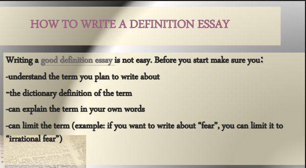 how to write a definition essay ideas examples structure example for students artscolumbia